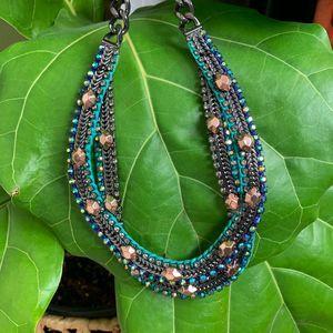 Stella & Dot Hematite Mercury Bib Necklace